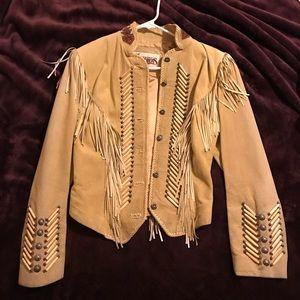 Jackets & Blazers - Genuine Leather tan embroidered fringe jacket